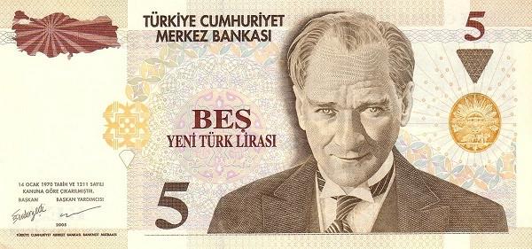Turkey 5 Yeni Türk Lirası