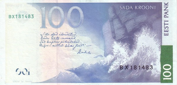 Estonia 100 Krooni (1999 Eesti Pank)
