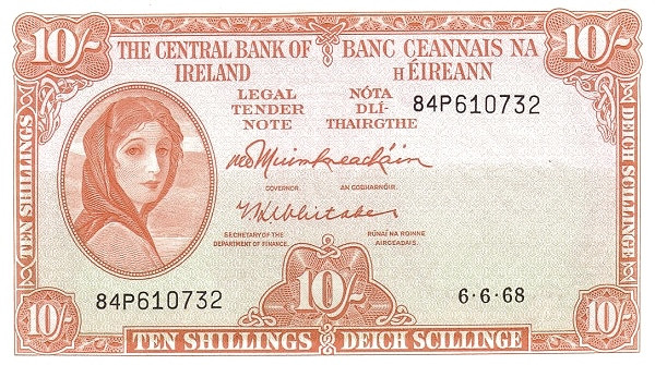 Ireland 10 Shillings (1961-1976 Central Bank of Ireland)