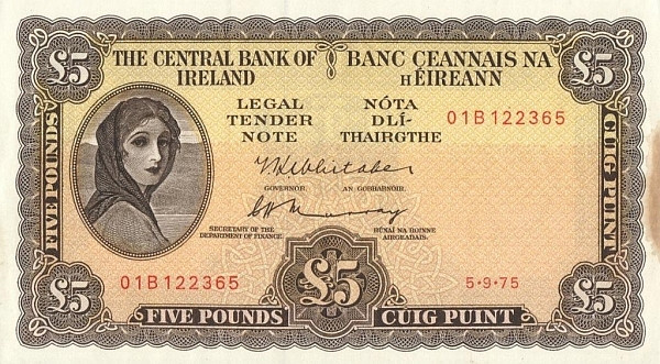 Ireland 5 Pounds (1961-1976 Central Bank of Ireland)