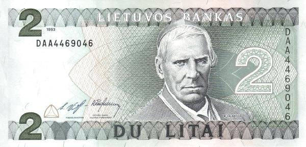 Lithuania 2 Litai (1993-1994 Lietuvos Bankas)