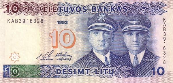 Lithuania 10 Litų (1993-1994 Lietuvos Bankas)