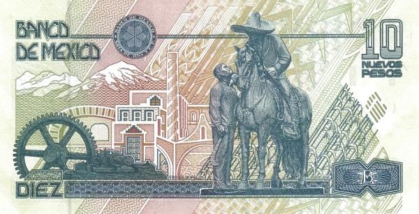 """Mexico 10 Pesos (1994 Nuevos Pesos New Design"""")"""""""