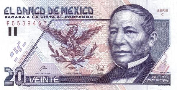 """Mexico 20 Pesos (1994 Nuevos Pesos New Design"""")"""""""