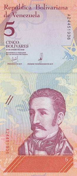 5 Venezuela Bolivar Soberanos
