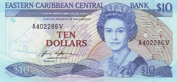 "Eastern Caribbean 10 Dollars (1985-1993 Eastern Caribbean Central Bank Anguilla Named on Map"")"""