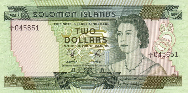 "Solomon Islands 2 Dollars (1977-1981 Elizabeth II"")"""