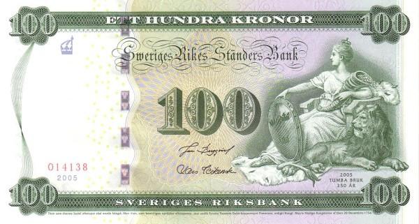 "Sweden 100 Kronor(2005 250 Years Tumba Bruk Printing Works"")"""