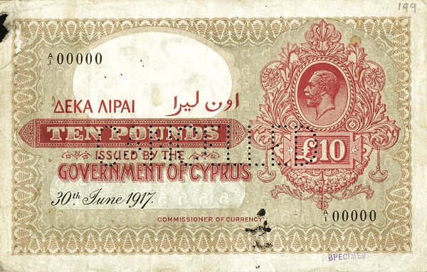Cyprus 10 Pounds (1917-1922 George V)