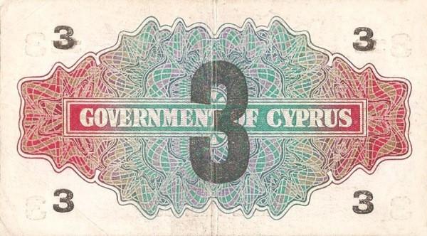 Cyprus 3 Piastres  (1943 Provisional)