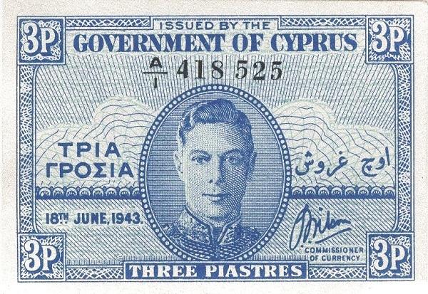 Cyprus 3 Piastres  (1943 George VI)