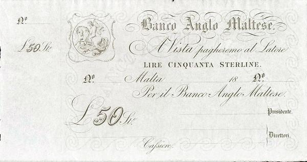 Malta 50 Lire (Banco Anglo Maltese)