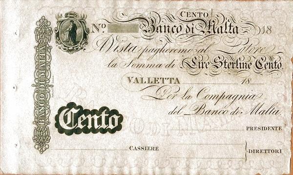 Malta 100 Lire (Banco di Malta)