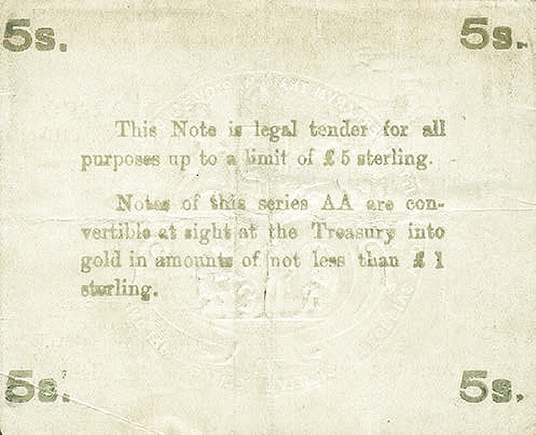 Malta 5 Shillings (August 1914)