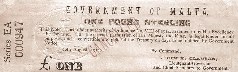 Malta 1 Pound (August 1914)