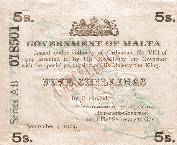 Malta 5 Shillings (September 1914)