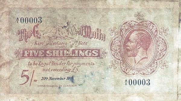 Malta 5 Shillings (1918  George VI)
