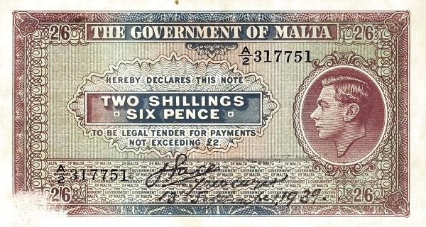 Malta 2 Shillings (1939  George VI)