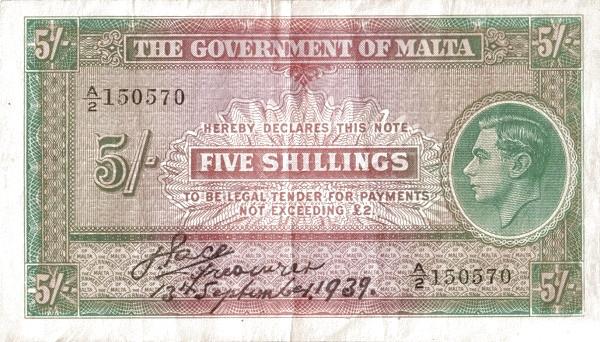 Malta 5 Shillings (1939  George VI)
