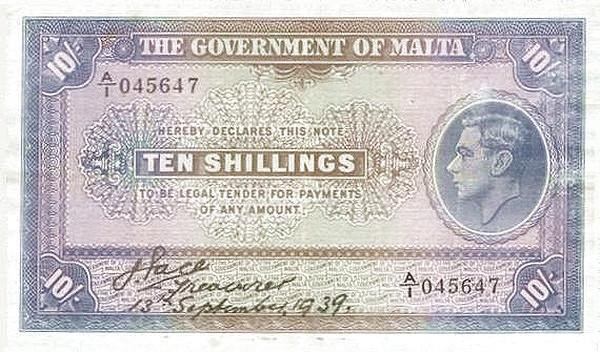 Malta 10 Shillings (1939  George VI)