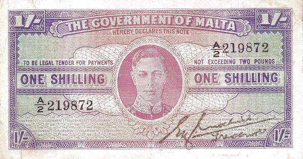 Malta 1 Shilling (1940-1943 George VI)