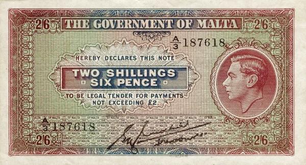 Malta 2 Shillings (1940-1943 George VI)