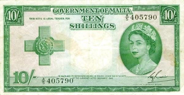 Malta 10 Shillings (1949 - Elizabeth II)