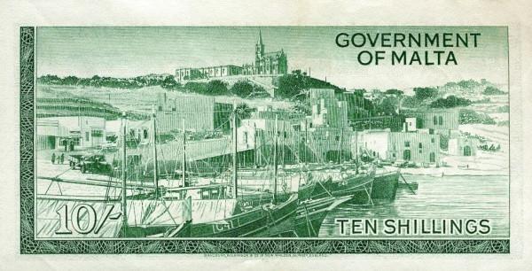 Malta 10 Shillings (1963 - Elizabeth II)