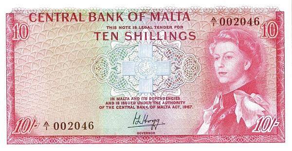 Malta 10 Shillings (1967 - Elizabeth II)