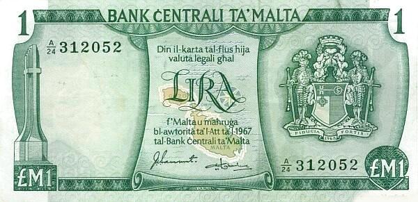 Malta 1 Lira (1973 Arms)