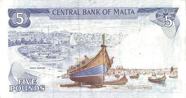 Malta 5 Liri  (1973 Arms)