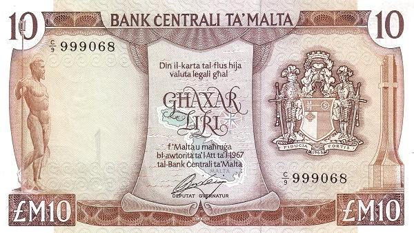 Malta 10 Liri  (1973 Arms)
