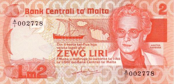 Malta 2 Liri  (1986 Agata Barbara)