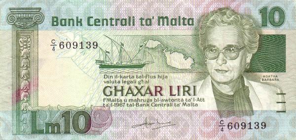 Malta 10 Liri  (1986 Agata Barbara)