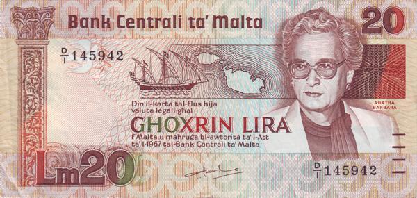 Malta 20 Liri  (1986 Agata Barbara)
