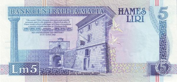 Malta 5 Liri  (2000 Millennium)