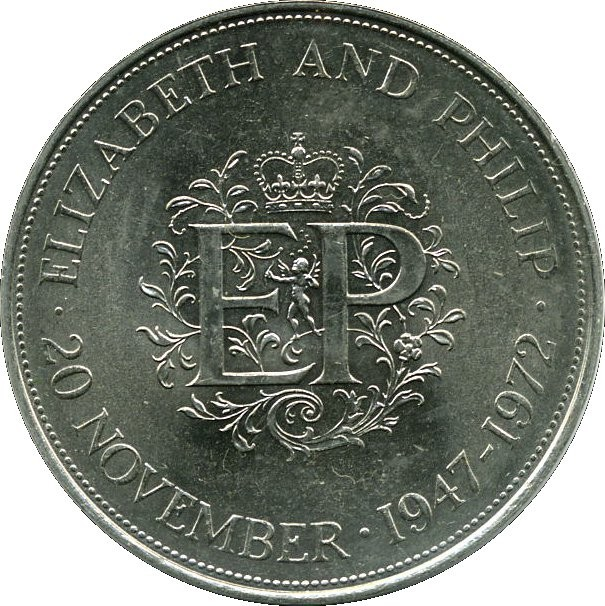 British 1 Crown (Elizabeth And Philip Silver Wedding Anniversary 1972)
