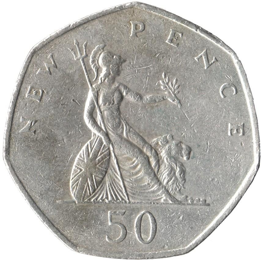 British 50 Pence (Large Style )