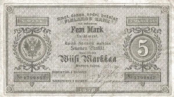 Finland 5 Markkaa (1878)