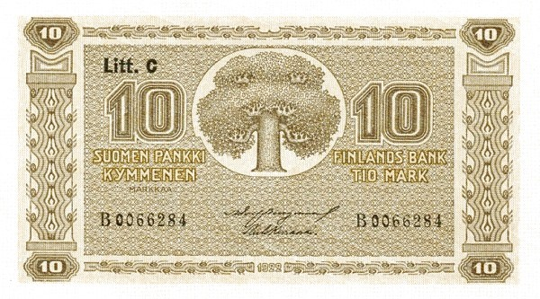 Finland 10 Markkaa (1922 Litt. C-D-Provisional)