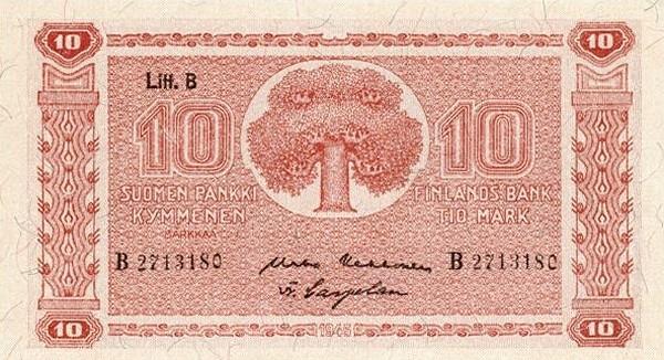 Finland 10 Markkaa (1945 Litt. B)