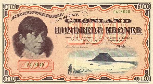 Greenland 100 Kroner (1953 Kreditseddel)
