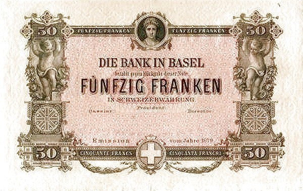 Switzerland 50 Franken (1876-1879 Bank in Basel)