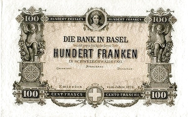 Switzerland 100 Franken (1876-1879 Bank in Basel)