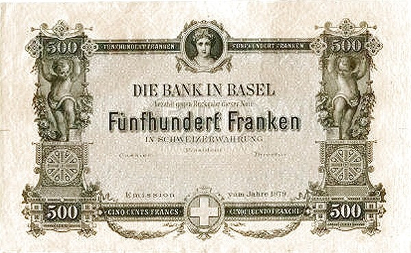 Switzerland 500 Franken (1876-1879 Bank in Basel)