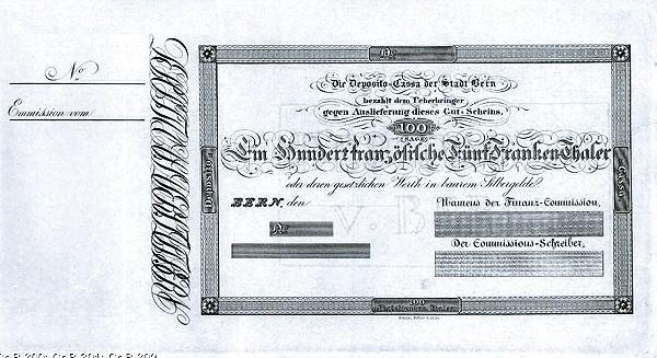 Switzerland 100 Franken (1832 Deposito-Cassa der Stadt Bern)