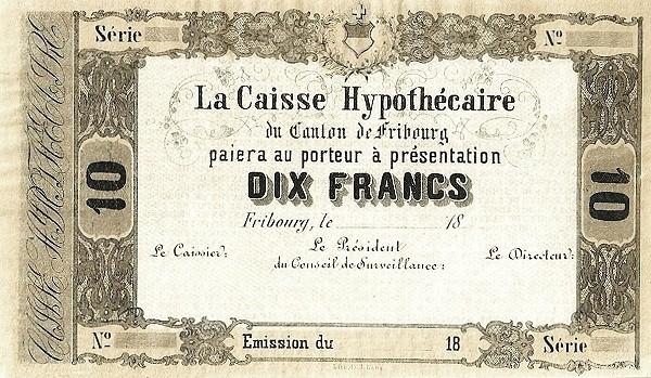 Switzerland 10 Franken (1856)