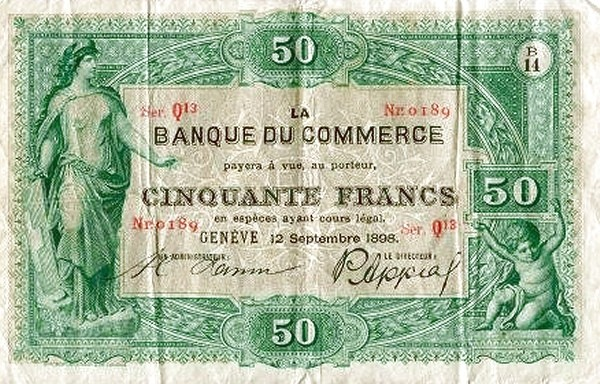 Switzerland 50 Francs (1883-1907 Banque du Commerce)