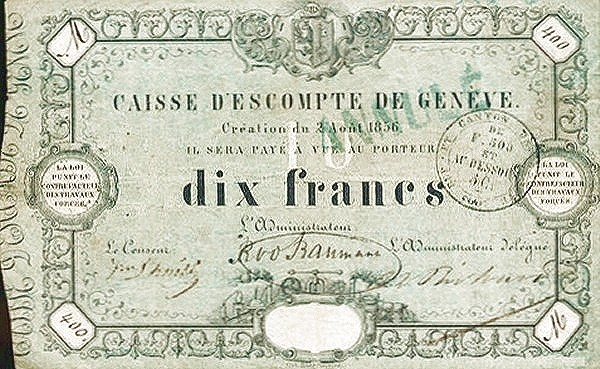 Switzerland 10 Francs (1856)