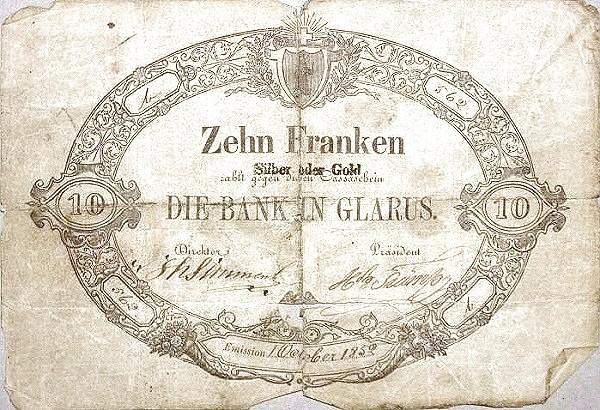 Switzerland 10 Franken (1852)